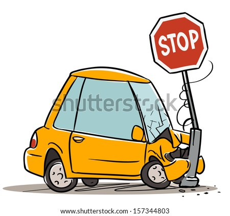 car crash stop sign cartoon illustration stock vector royalty free rh shutterstock com cartoon car crashing cartoon car crash videos