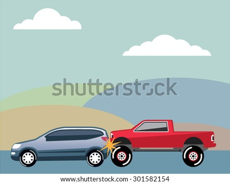 Car crash rear ended vehicle Vector  - stock vector
