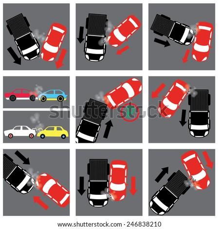 car crash sign - stock vector
