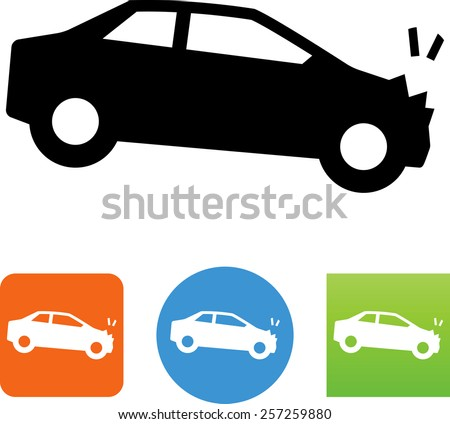 Car crash symbol. Vector icons for video, mobile apps, Web sites and print projects.  - stock vector