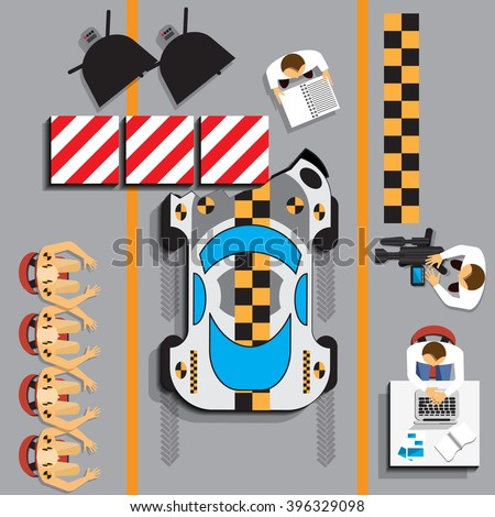 Car crash test in lab garage. View from above. Vector illustration. Applique with realistic shadows. - stock vector