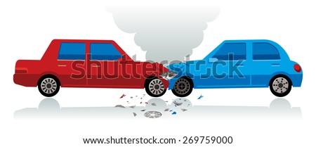 car crash, two car collision  - stock vector