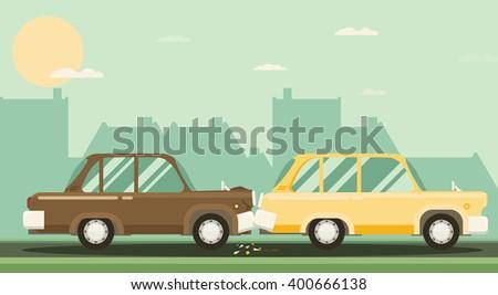 Car crash. Two cars hit. Flat design. - stock vector