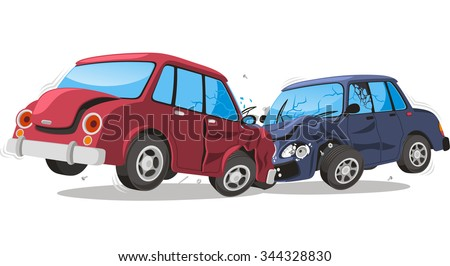 Car crash vector cartoon illustration - stock vector
