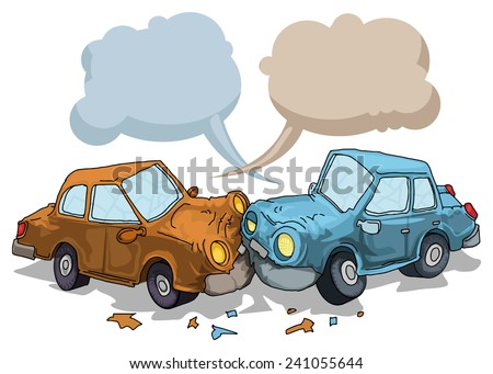 Car crash, with speech bubbles, vector illustration - stock vector