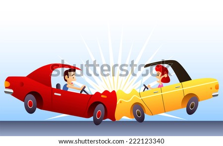 Car crash, with two cars front collide hit. Vector illustration cartoon.  - stock vector