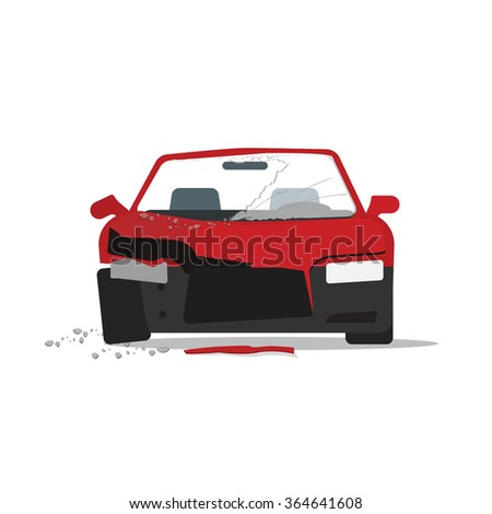 Car crush vector illustration, crashed auto fragments with glass splinters concept, disaster incident, accident, flat cartoon modern design isolated on white background  - stock vector