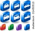 Car 3D Buttons : Set of blue travel isometric icons with drop shadow and  a variety of color options. - stock vector