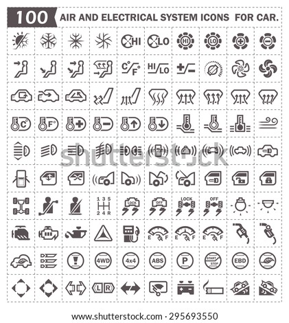 Car Dashboard Air Conditioning System Vector Stock Vector - Car image sign of dashboardcar dashboard icons stock images royaltyfree imagesvectors