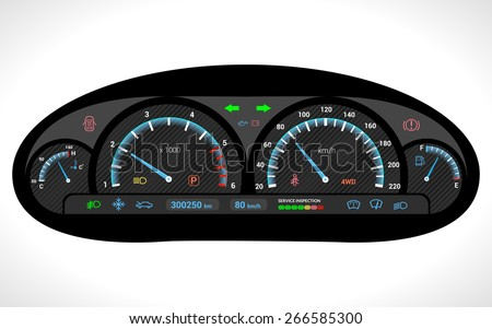 Car dashboard auto speedometer panel isolated on white background vector illustration - stock vector