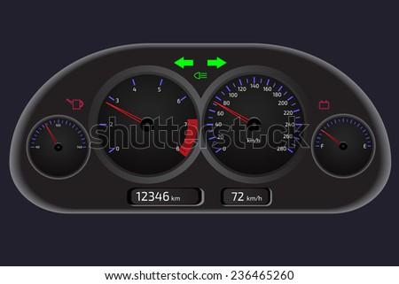 Car dashboard, automobile control panel - stock vector