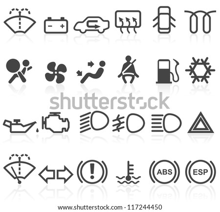 Car dashboard icons - stock vector