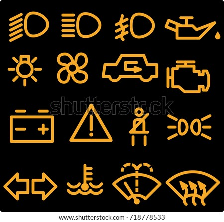 Car Dashboard Icons Stock Vector Hd Royalty Free 718778533