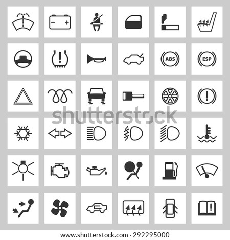 Car Dashboard Icons Set Stock Vector Shutterstock - Car image sign of dashboardcar dashboard icons stock images royaltyfree imagesvectors