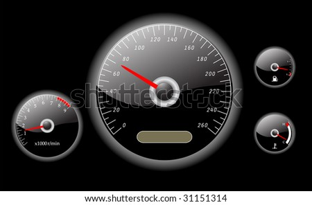 car dashboard instruments vector illustrated - stock vector
