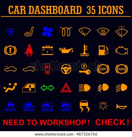 Car Dashboard Panel Indicators Stock Vector Shutterstock - Car image sign of dashboardcar dashboard icons stock images royaltyfree imagesvectors
