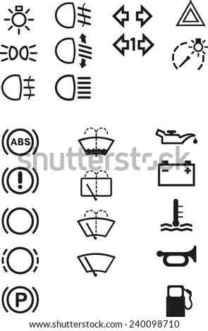 Car dashboard signs  - stock vector