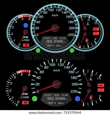 Car Dashboard Speedometer Tachometer Fuel Temperature Stock Vector - Car signs on dashboardcar dashboard signs speedometer tachometer fuel and temperature