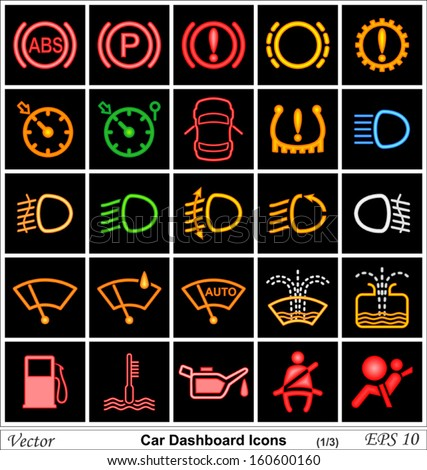 Car Dashboard Vector Icons Stock Vector  Shutterstock - Car image sign of dashboard
