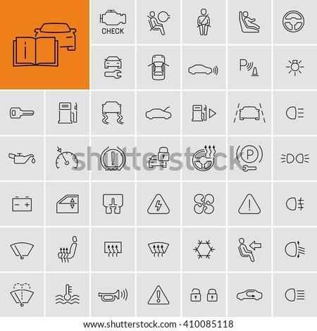 Car dashboard vector icons set  - stock vector