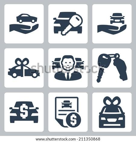 Car dealer vector icons set - stock vector