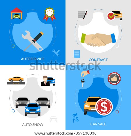 Car dealership flat icons composition of automobile sale autoservice buying contract and auto show square concept vector illustration - stock vector