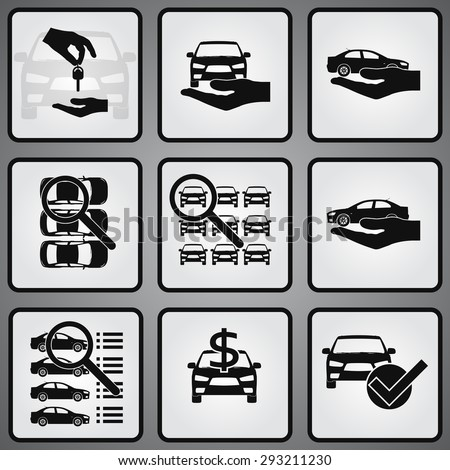 Car dealership 9 icons set. Selling, buying and searching - stock vector