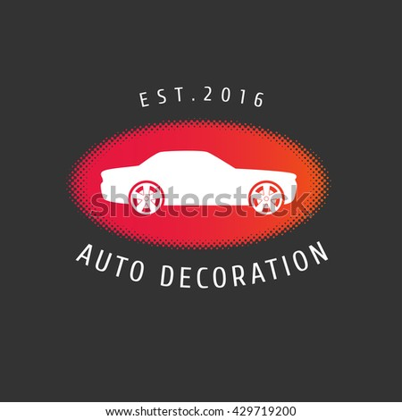 Car decoration vector logo, icon, emblem, sign. Template design element for car painting, service, parts store - stock vector
