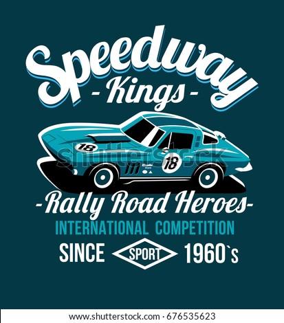 Car Design Classic Rally Race Retro Stock Vector 676535623