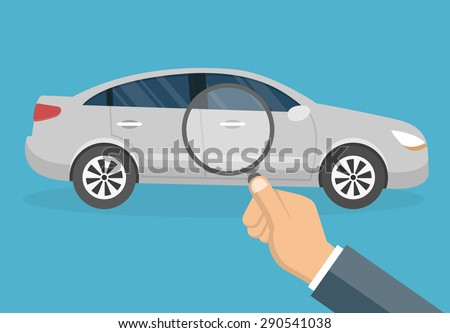 Car diagnostic concept - Hand with magnifying glass inspecting a car  - flat style - stock vector