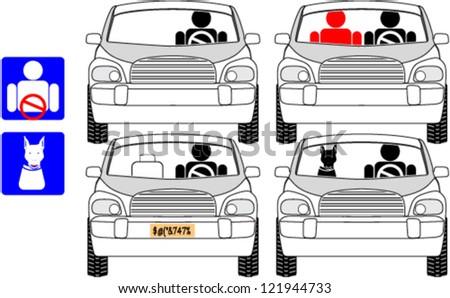 Car Driver Passengers Clipart Stock Vector 121944733 - Shutterstock