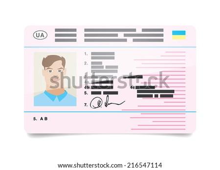 Car driver's license Ukraine - stock vector