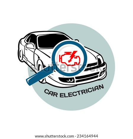 Car electrician logo template. Auto scan for errors. - stock vector