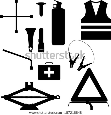 Car emergency kit - vector silhouette - stock vector