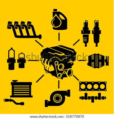 Car Engine Parts Icons  - stock vector
