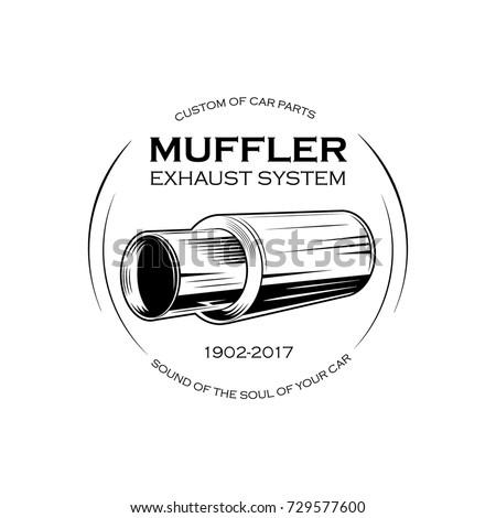 Car Exhaust Pipe Muffler Monochrome Label Stock Vector (2018 ...