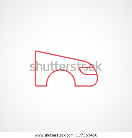 Car Fender Wing Red Line Icon Stock Vector 597563450 Shutterstock