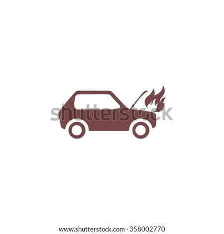 Car fired. Colorful vector icon. Simple retro color modern illustration pictogram. Collection concept symbol for infographic project and logo - stock vector