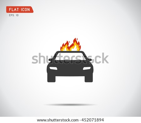 car fired Vehicle insurance Icon. Flat pictograph Icon design, Vector illustration