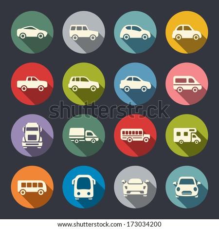 Car flat icon set - stock vector