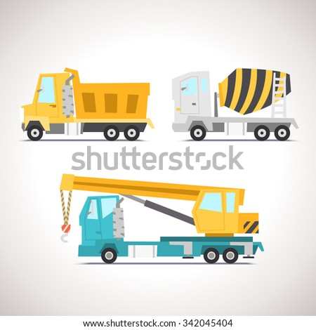 Car Flat Icon Set with Construction Equipment: Crane Truck, Concrete Mixer and Truck - stock vector