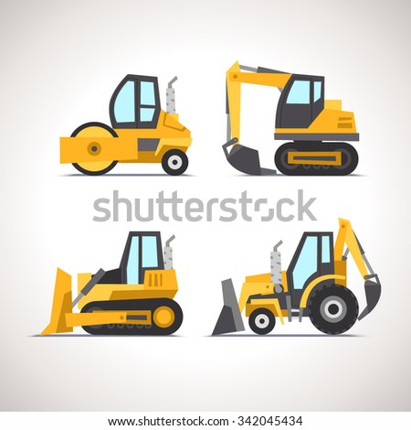 Car Flat Icon Set with Construction Equipment: Road Roller, Excavator, Bulldozer and Tractor - stock vector