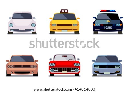 Car flat vector icons in front view. Car transport, auto car, vehicle car speed illustration - stock vector