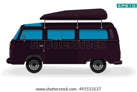 Car for tourists. Illustration minibus on white background.