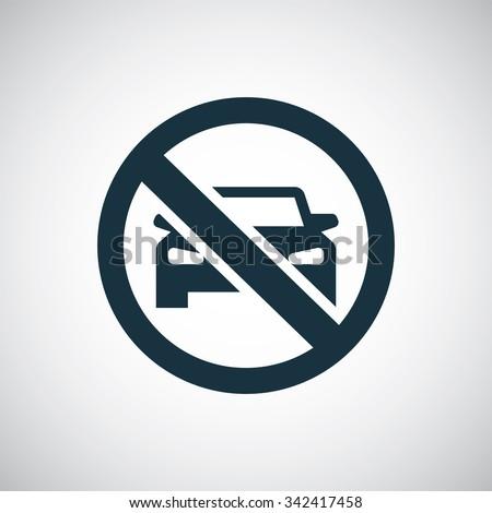 car forbidden icon, on white background - stock vector