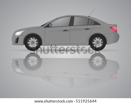Car from the side - realistic illustration realistic models with shadows and reflections, using online or print, logo, symbol, icon or design can be used in field of motor repairing car service