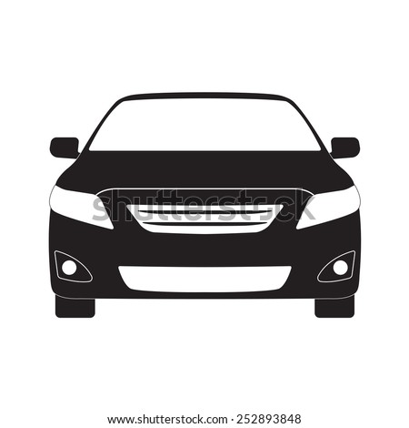 Car front icon or sign. Vector black vehicle silhouette isolated on white background. - stock vector