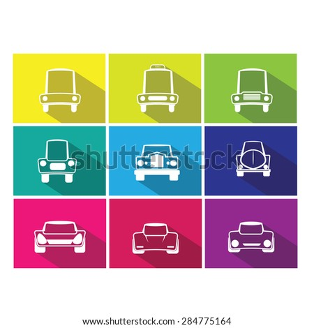 Car front side icons set vector flat line shadow - stock vector