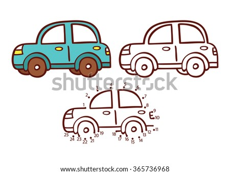 car game. Vector illustration of dot to dot puzzle and coloring page with cartoon car for children - stock vector