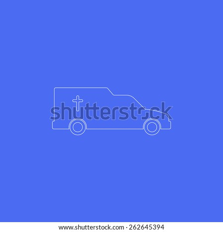 Car,hearse line icon. Blue background. Line,modern design. Vector illustration EPS8 - stock vector